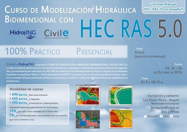 Curso de modelización hidráulica bidimensional con HEC-RAS 5.0 en Sevilla