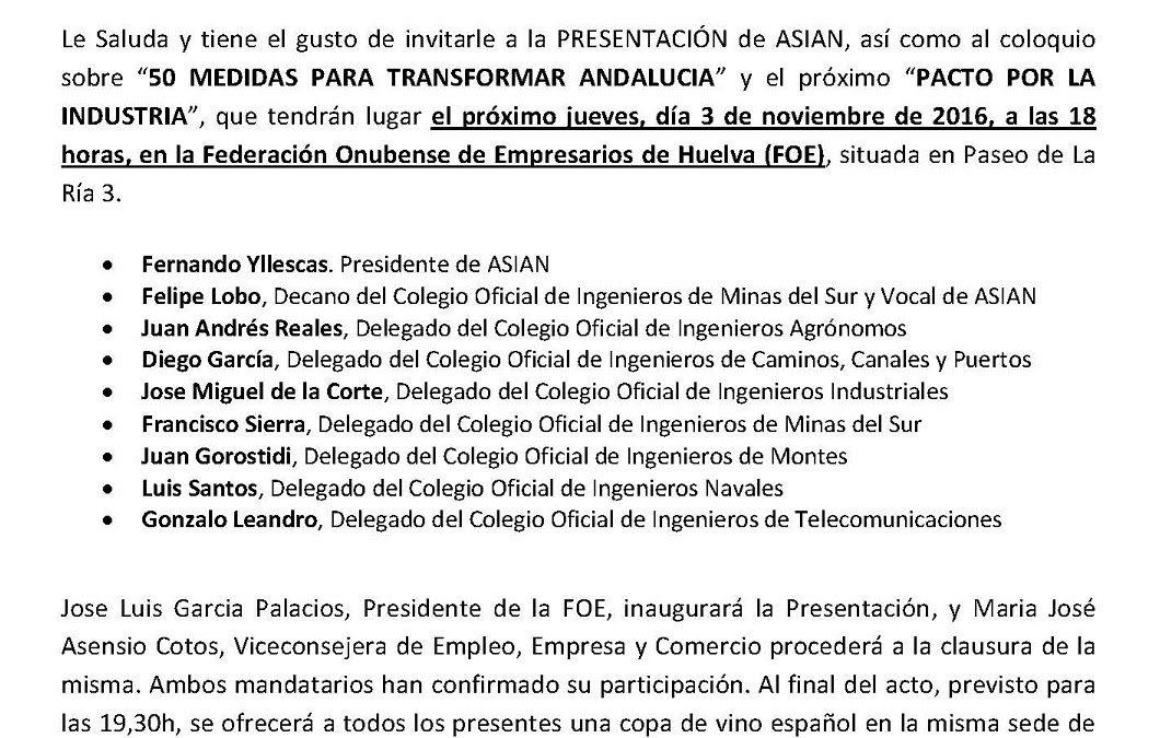 Huelva. Presentación de ASIAN 3 de Noviembre