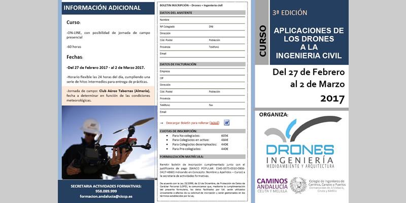 """Curso """"Aplicaciones de los Drones a la Ingeniería Civil"""" (3 Edición)"""