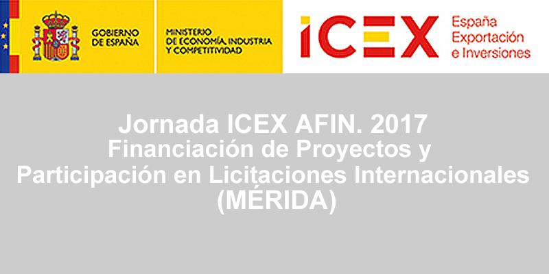 Jornada ICEX AFIN. Financiación de Proyectos y Participación en Licitaciones Internacionales (MÉRIDA)