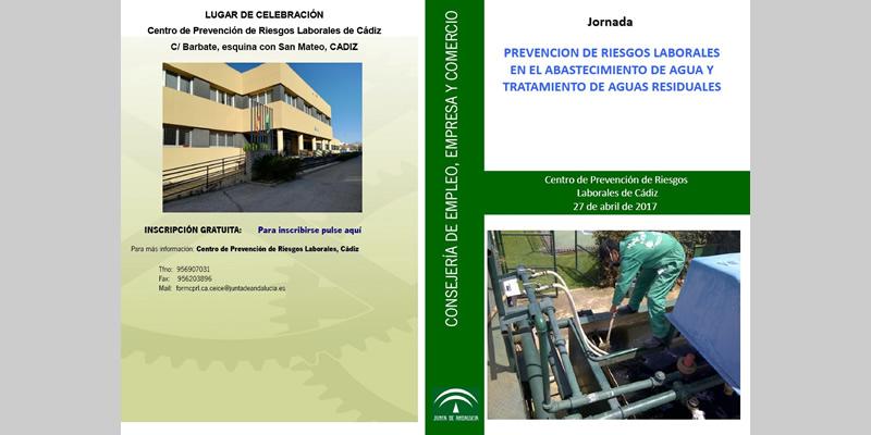 """Cádiz. Jornada gratuita de """"Prevención de Riesgos Laborales en el abastecimiento de agua y tratamiento de aguas residuales"""""""