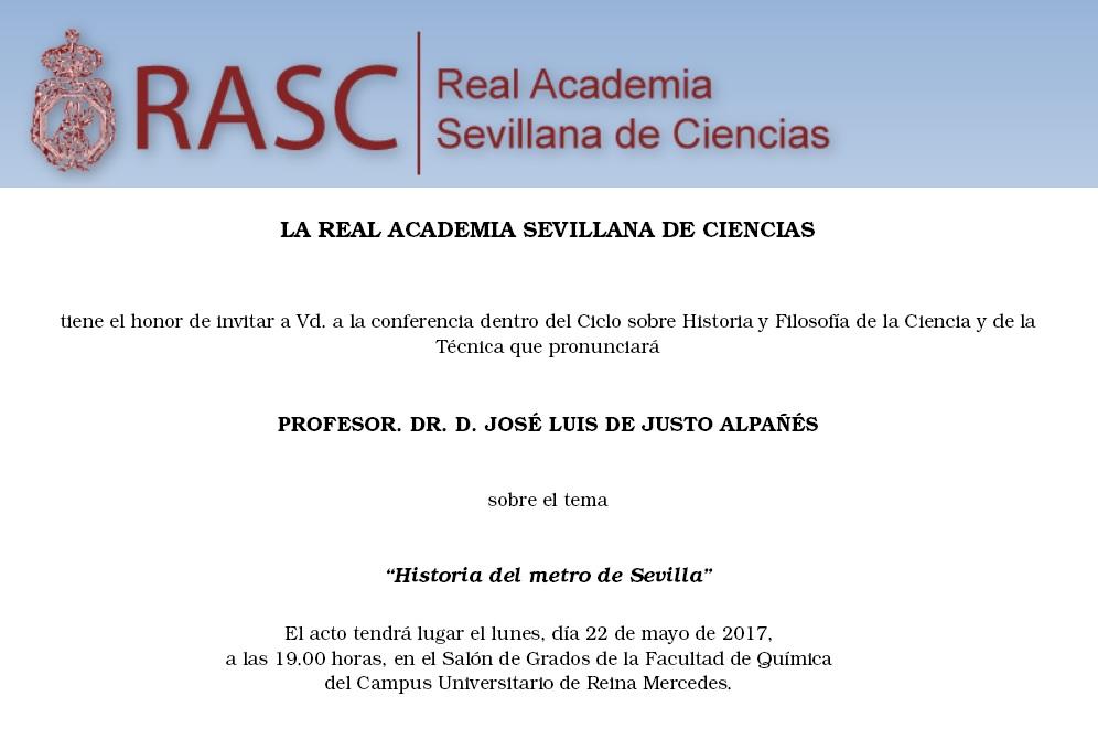"Sevilla.  Conferencia ""Historia del Metro de Sevilla"""