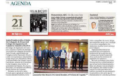 Jesús Posada recibe el título de Colegiado de Honor del Colegio de Ingenieros de Caminos, Canales y Puertos