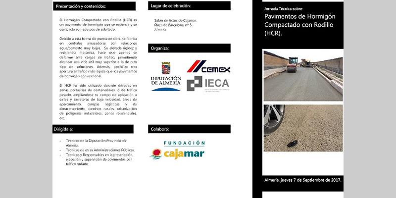 """Almería. Jornada Técnica sobre """"Pavimentos de Hormigón Compactado con Rodillo (HCR)"""""""