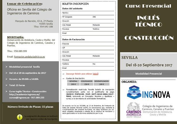 "Sevilla. Curso Presencial ""INGLÉS TÉCNICO CONSTRUCCIÓN"""