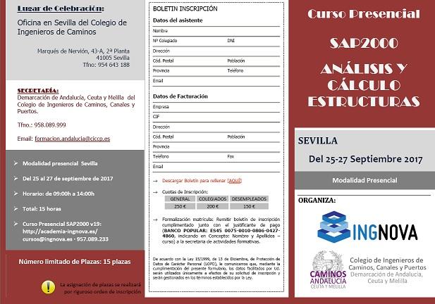 """Sevilla. Curso Presencial """"SAP2000: ANÁLISIS Y CÁLCULO ESTRUCTURAS"""""""