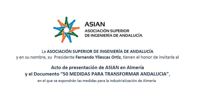 """Almería. Acto de presentación de ASIAN y """"50 MEDIDAS PARA TRANSFORMAR ANDALUCIA"""""""
