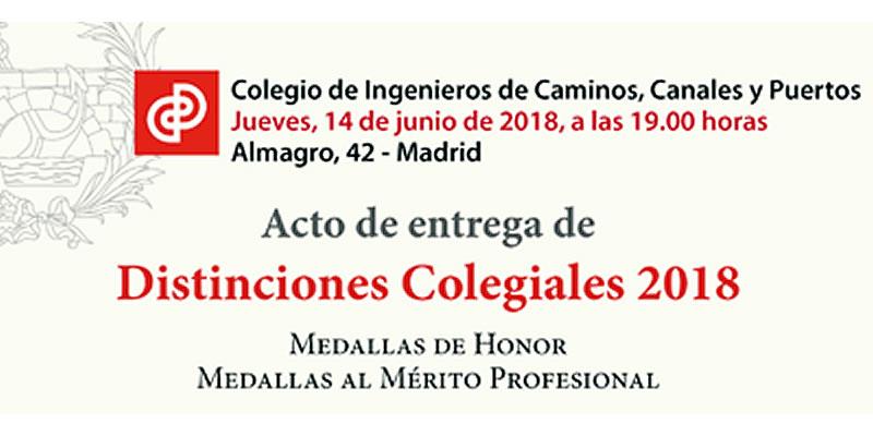 Distinciones Colegiales 2018. Colegiados Caminos Andalucía.
