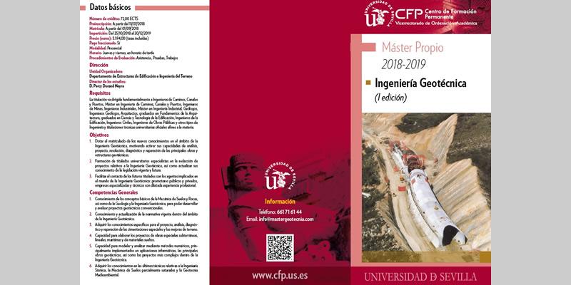 Sevilla. I Edición Máster en Ingeniería Geotécnica. Título propio de la Universidad de Sevilla