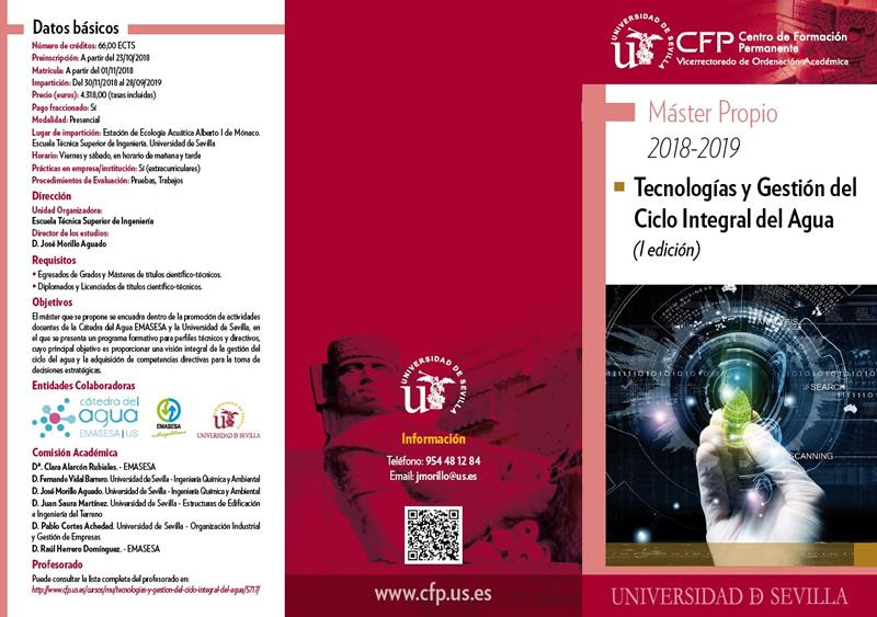 Sevilla. Máster en Tecnologías y Gestión del Ciclo Integral del Agua