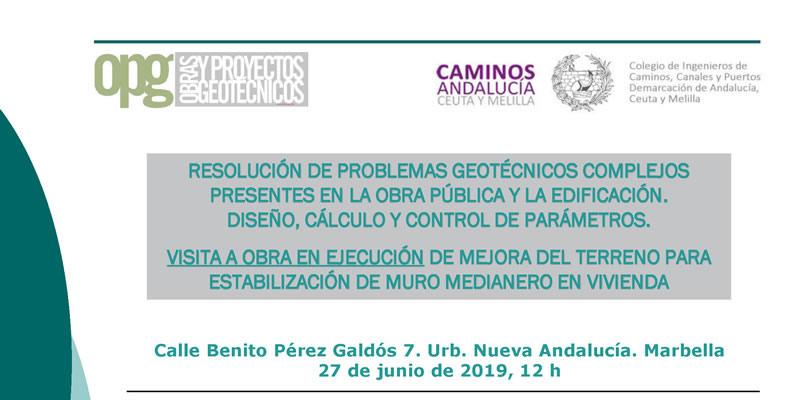 Málaga. Visita Técnica «Obra en ejecución de mejora de terreno para la estabilización de muro medianero en vivienda»