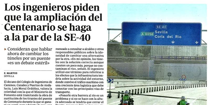 Los ingenieros piden que la ampliación del puente del Centenario se haga a la par de la SE-40