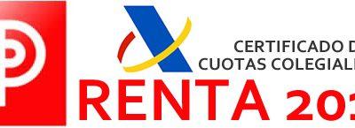Disponible el Certificado de Cuotas Colegiales para la Renta 2019