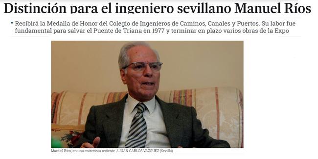 Distinción para el ingeniero sevillano Manuel Ríos