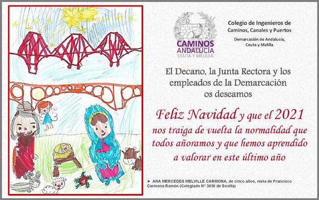 El christmas de la pequeña Ana Mercedes Melville Carmona, de cinco años, se convierte en la felicitación oficial de la Demarcación