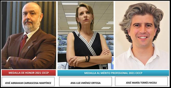Tres ingenieros andaluces distinguidos a nivel nacional con las Medallas de Honor y al Mérito Profesional 2021 del CICCP